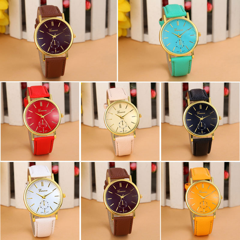 9 Colors 2015 New Arrival Unisex Women Men New Quartz Leather Band Fashion&Casual Analog Watches Vogue WristWatch Fast shipping(China (Mainland))