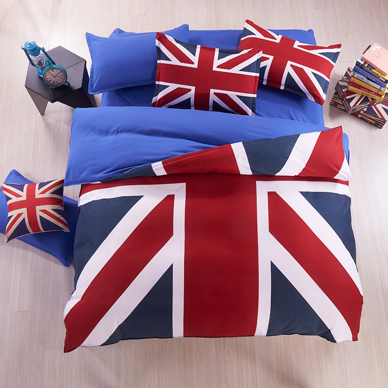 New Union Jack and American Flag Bedding Set Bed set Microfiber Duvet Cover Flat/Fitted sheet Pillowcase Twin Queen blue red(China (Mainland))