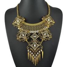 2015 Hot Sale Cone Tassel Long Necklace Women Big Heavy Metal Chain Fashion Necklace Costume Bib Statement Necklaces & Pendants