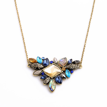 Buy Fashion Colorful Rhinestone Necklaces Pendants Boho Flower Necklace 2016 Antique Gold Plated Thin Chain Collar Necklace Jewelry for $1.02 in AliExpress store