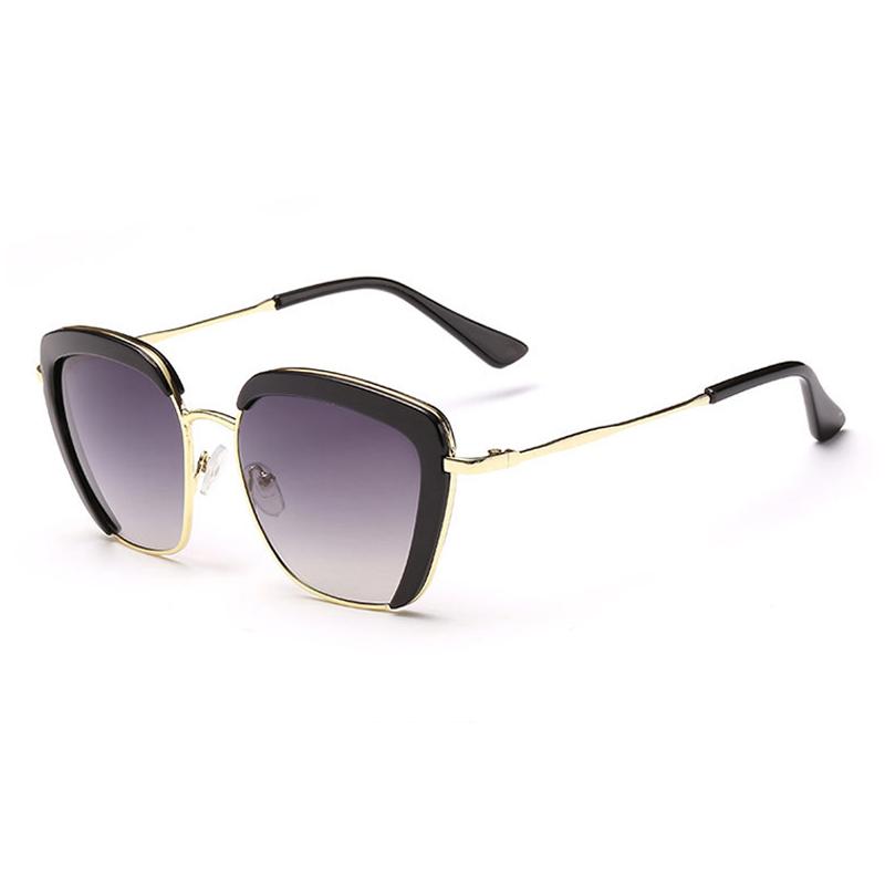 Fashion Retro Semi-Rimless Half Frame Women Creative Frame Cool Elegant Metal Glasses Summer Coating Sunglasses gafas de sol(China (Mainland))