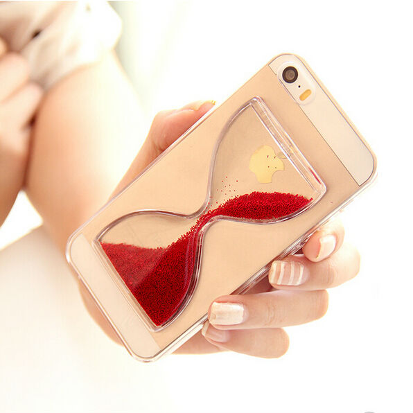 2015 New Crystal Clear Quicksand Sand Clock Transparent Flowing Hourglass Pattern Back Cover Phone Case For iphone 6 4.7 YC203(China (Mainland))
