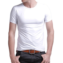 New Men Cotton Breathable Undershirt Close Fit Soft Comfortable Basic Base Solid White Black O-neck T-shirt Top Wholesale