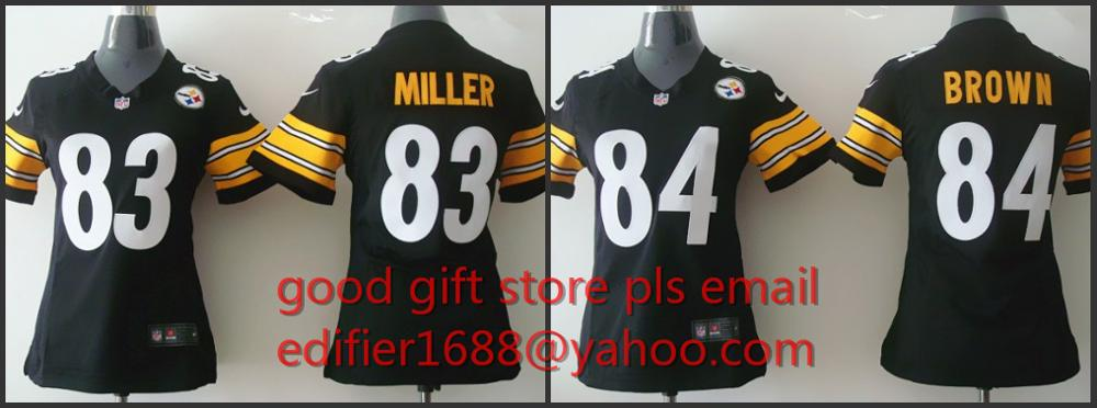 100% cosido Pittsburgh Steelers mujeres señoras 83 Heath Miller 84 Antonio Brown Bordado Logos tamaño S a la XXL(China (Mainland))