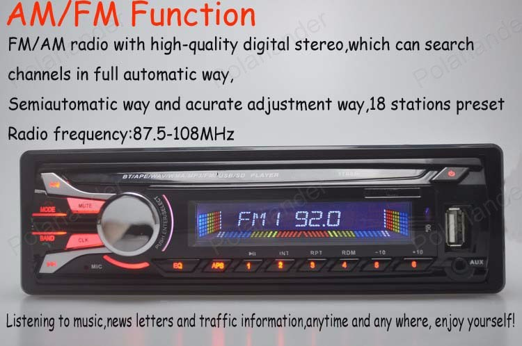 free shipping Radio player car audio Detachable Front Pannel auto bluetooth Stereo radios MP3 5V Charger USB/SD card AUX in