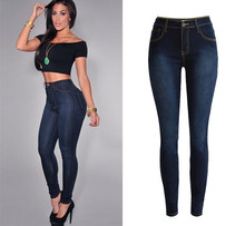 Fashion high waisted solid dark blue full length elastic pencil jeans woman trousers jegging leggings pants plus size women(China (Mainland))