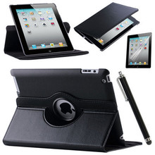 For Case Apple iPad 2 iPad 3 iPad 4 PU Leather Smart Stand Flip Case Cover 360 Rotating Screen Protector Film Stylus Pen Gifts(China (Mainland))