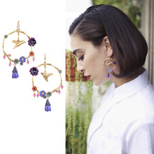 2016 New Rushed Women Trendy Brincos Jewelry Earings Les Nereides Cloisonne Enamel Bird Flower Earrings Love Pendant(China (Mainland))