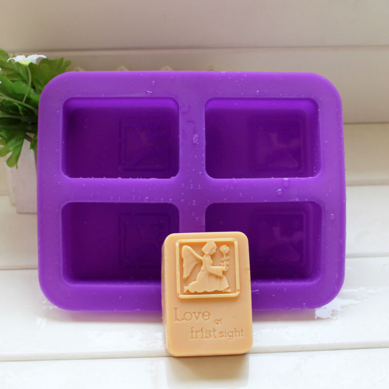 20*16.5*3cm silicone rectangle angel handmade soap mold sugar craft paste styling tools kitchen accessories(China (Mainland))