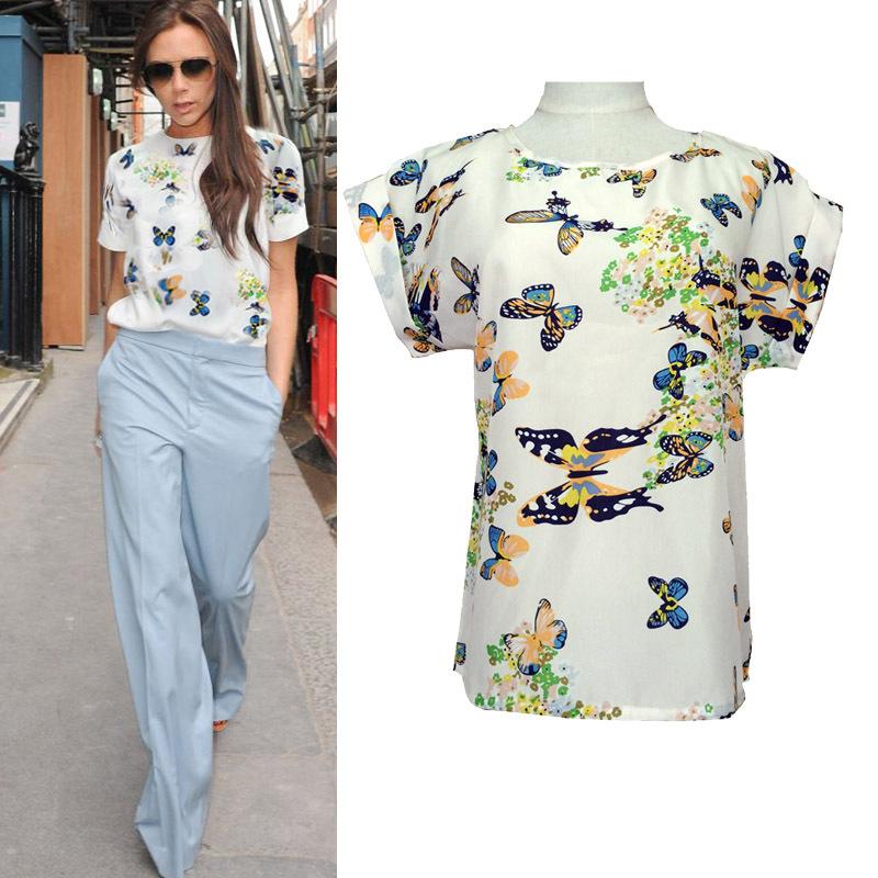 Plus Size New Fashion 2015 Summer Women Print Chiffon Shirt Vintage Birds /Dot/Heart Printed Batwing Sleeve T Shirts Tops BK007(China (Mainland))