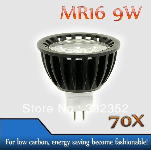 High power 70pcs/lot MR16  3leds Dimmable 3X3W 9W High Power LED Lights LED Bulb Lamp Led Spotlight