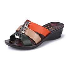 Summer new fashion lady slipper slope elderly mother at home with non-slip soft bottom female sandals and slippers Free Shipping