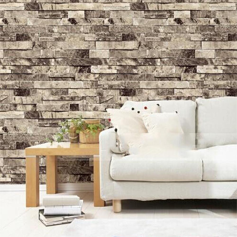 Buy vinyl pvc 3d murals waterpoof for Grey brick wallpaper living room