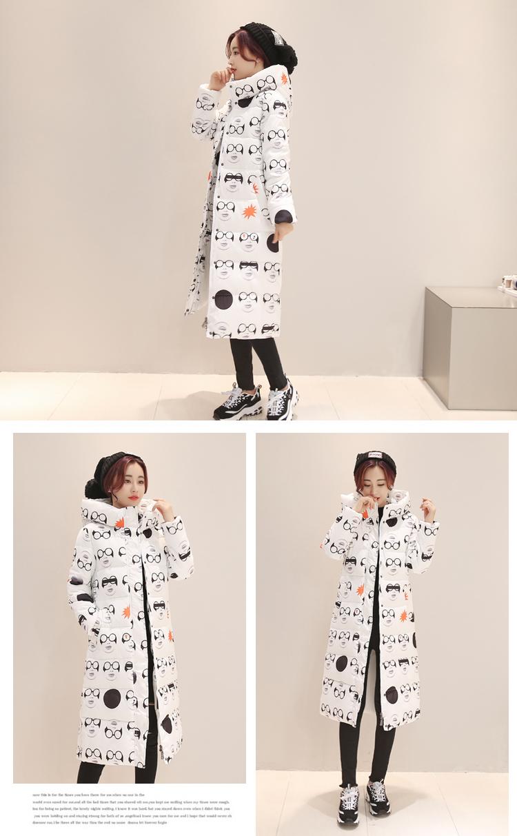Скидки на Новое Поступление Auturm Зима Женщин Вниз Пальто Куртка X-лонг Парки Печати Толстый Хлопок Теплый Пиджаки Плюс Размер Мода пальто