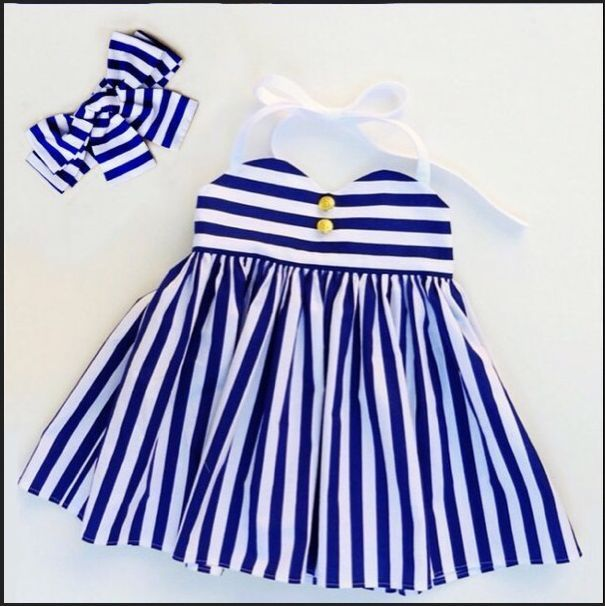 2016 New Children Girl Kids Toddler Baby Dresses Princess Party Striped Headband Blue Tulle Ball Tutu Dress Girl 1 2 3 4 5Y(China (Mainland))