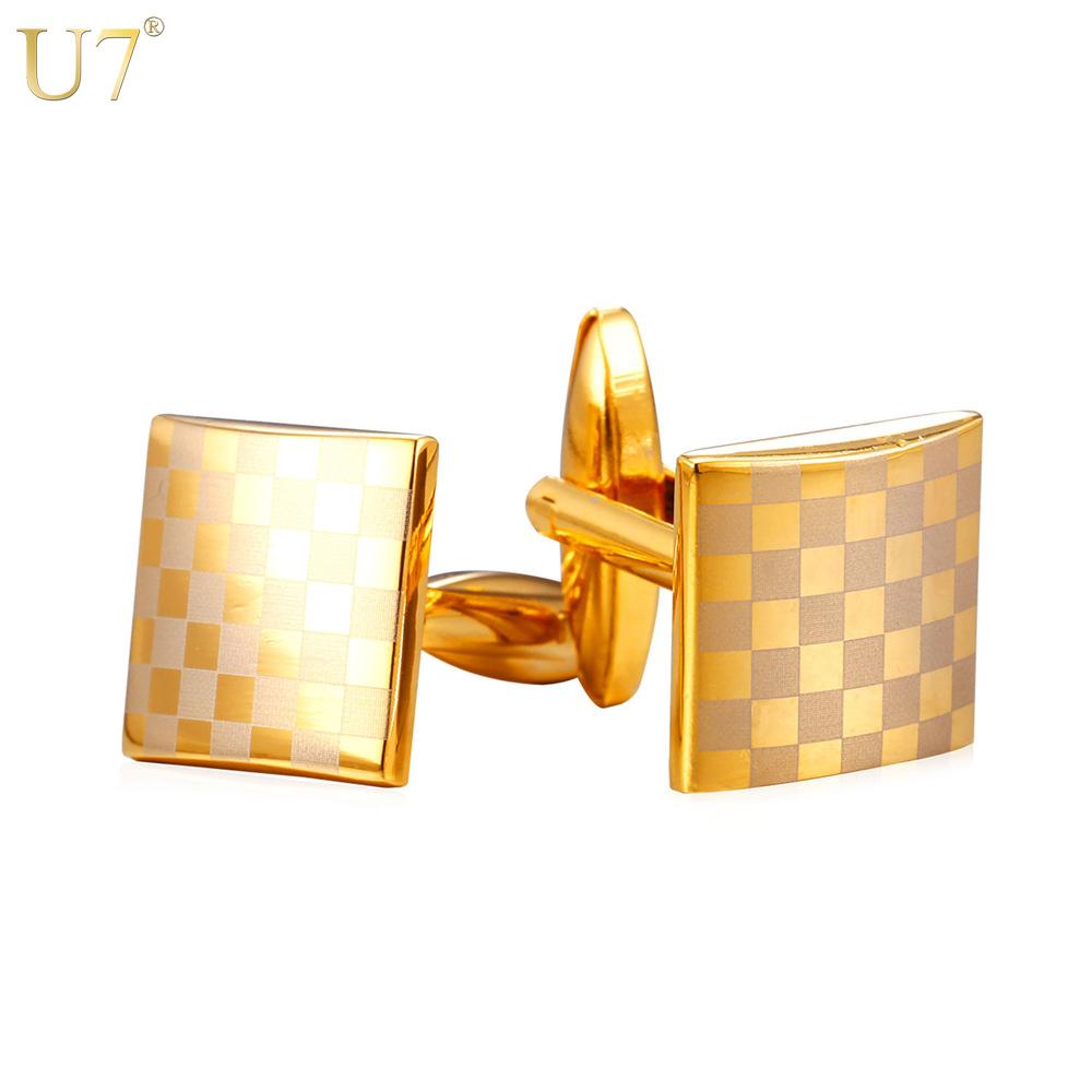U7 New Classic Checker Cufflinks Men Jewelry Platinum /18K Gold Plated Men Business Suit Stripe Cuff Buttons Clip Wholesale C002(China (Mainland))
