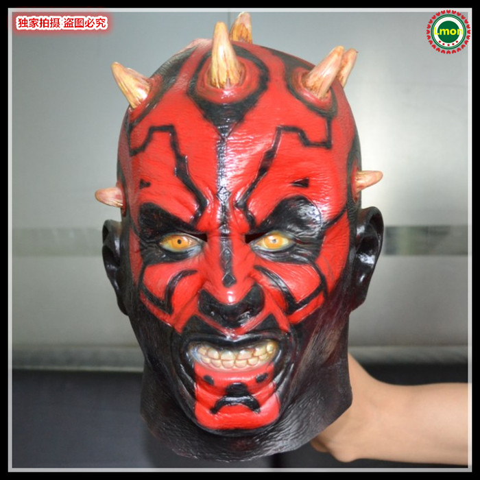Hot Sale High Quality Latex Rubber New Adult Star Wars Deluxe Darth Maul Latex Halloween Mask Free shipping(China (Mainland))