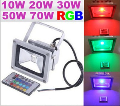 10W 20W 30W 50W AC85-265V RGB Projection LED Flood Wash Light Floodlight Outdoor Color Change+remote control Play Grounds Yards(China (Mainland))