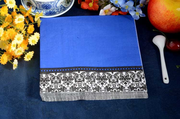 2 packs FOOD GRADE Dark Blue Color Napkin Paper 100% Virgin Wood Tissue for Party Decoration Paper Crafts(China (Mainland))