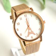 2015 nueva madera reloj mujeres relojes de cuarzo de la alta calidad de cuero de diseño de relojes de torre envío gratis