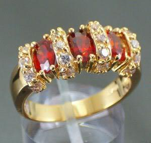 Sz7/8/9 Sparkling Ruby lady's 10KT yellow Gold Filled Ladies Jewellery Ring Gift(China (Mainland))