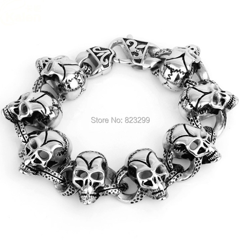 (length: 22cm width: 24mm weight: 107g) 316L manufacturers selling fashionable high polished stainless steel skull bracelet(China (Mainland))