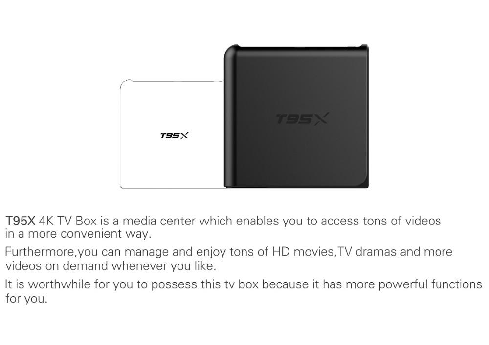 ถูก 2016ใหม่สมาร์ททีวีกล่องAndroid 6.0 media player T95X 1กรัม8กรัมAmlogic S905X Quad Coreกล่องทีวีพร้อม4พัน* 2พันKodi 16.1เซ็ตด้านบนกล่อง