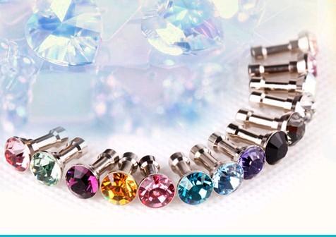 100pcs/lot,Luxury Phone Accessories Small Diamond Rhinestone 3.5mm Dust Plug Earphone Plug For Iphone&Ipad & Samsung,Wholesales