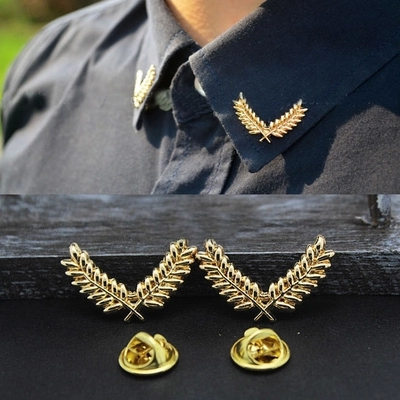 Fashion Alloy Brooch Gold Plated European And American Wheat Brooch Shirt Collar Accessories For Women Man YB-1001(China (Mainland))