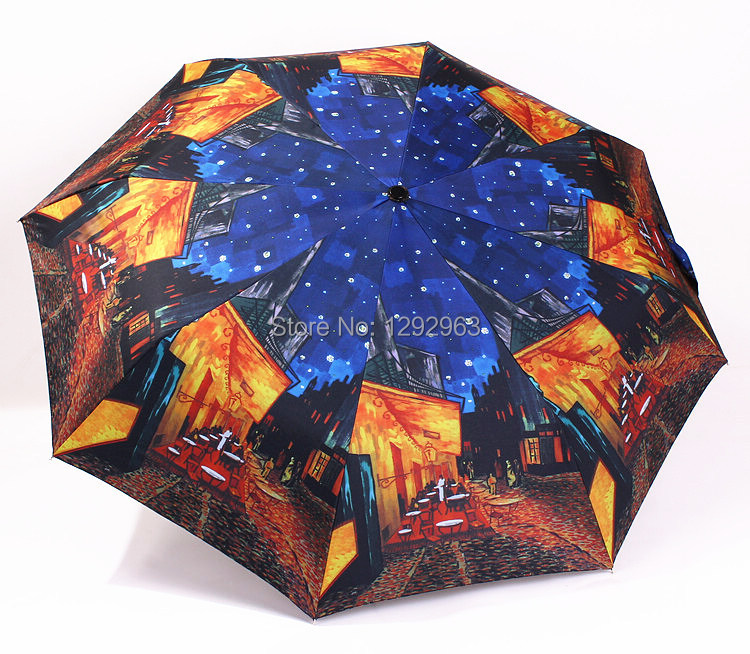 Free shipping fashion personality Vinyl painting cafe triple super automatic umbrella umbrella sun umbrella umbrellas(China (Mainland))