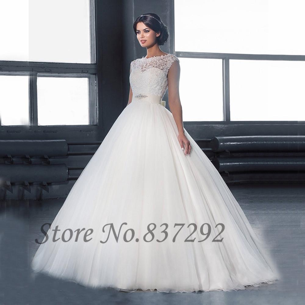 Vestido De Noiva White Ball Gown Lace Wedding Dress 2016 Backless Bridal Dresses Sleeveless