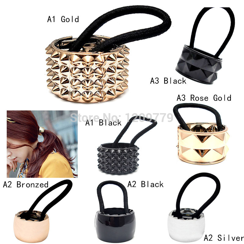 A22 Free shipping 1pcs Girls Hair Band Metal Hair Wrap Pony Tail Holder Ring Rope Circle Accessory H6548 P(China (Mainland))