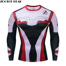 2019 del Mostro di trasporto The Avengers 4 Uomini Casual Camicia di Fitness Manica Lunga Marvel Avengers Endgame Compressione Tshirt ZOOTOP ORSO(China)