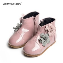 CCTWINS KIDS winter brand flower boots for children fashion warm shoes baby girls pink princess boots toddler fur boots black(China (Mainland))