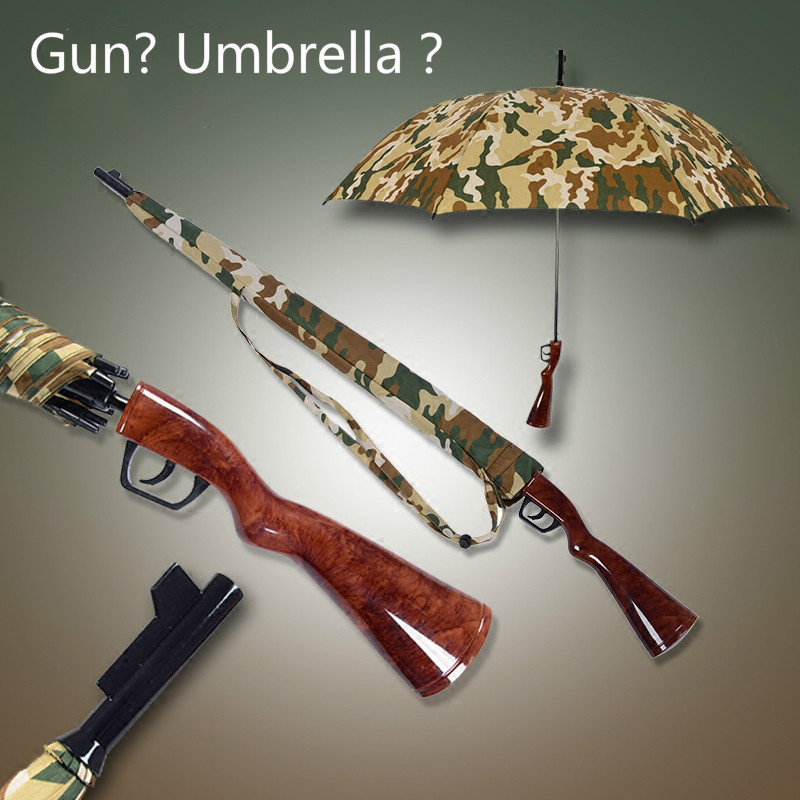 New Musket Rifle Gentles Ladies Fully-Automatic Aluminium Fiberglass Strong Long Straight Handle Compact Big Rain Umbrella(China (Mainland))