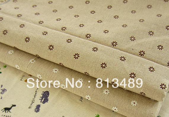 Vantage floral fabric daisy cotton hemp print linen handmade diy table cloth curtain 6colors for choose 155cmx100cm(China (Mainland))