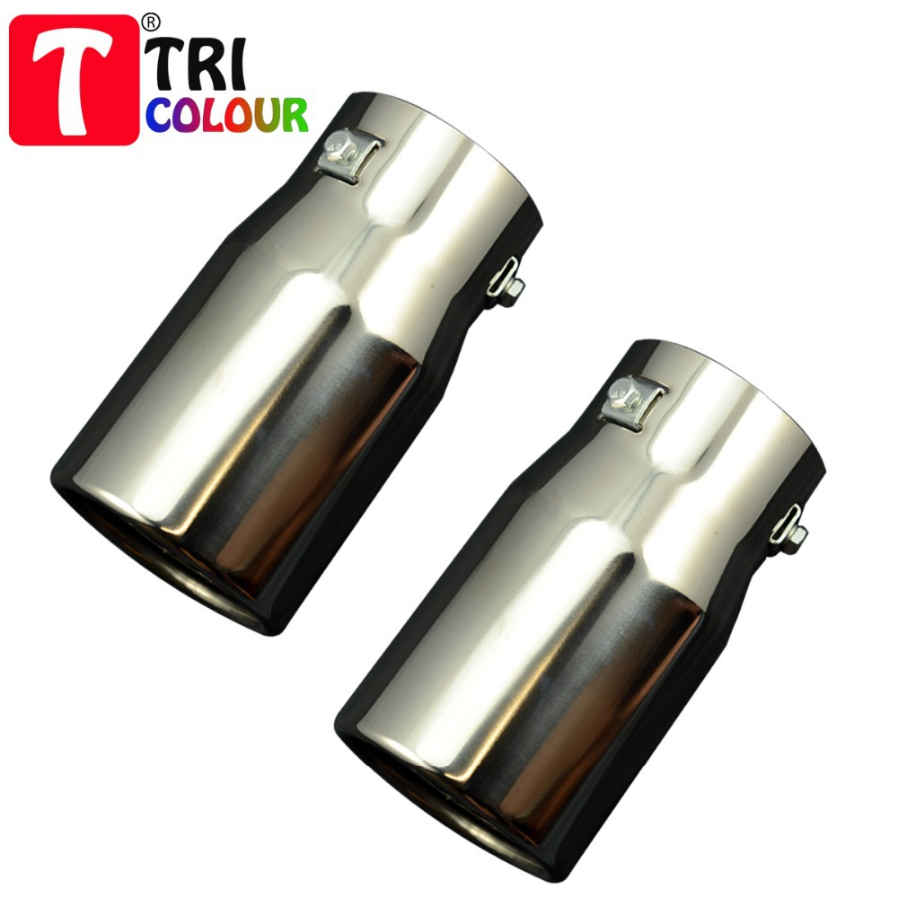 (Tricolor Muffler) Wholesale 4pcs/lot Car Decoration Stainless Steel Chrome Exhaust Tail Muffler End Pipe universal fit #LW15