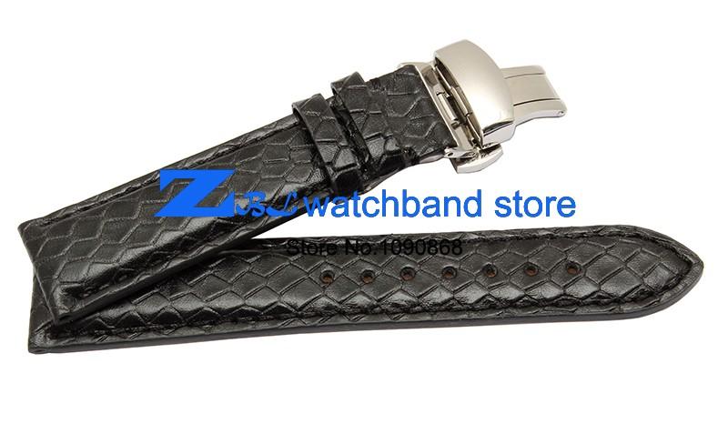 Змеиной зерна кожи ремешок для часов 20 мм вахты пояса ремень наручные часы группа часы кожаный браслет бабочка застежка