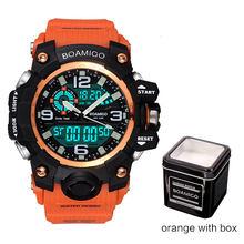 Relojes Deportivos para Hombre Relojes de Pulsera de Goma de Cuarzo para Nadar de Color Naranja, de Marca BOAMIGO, Reloj Impermeable Reloj Masculino(China)