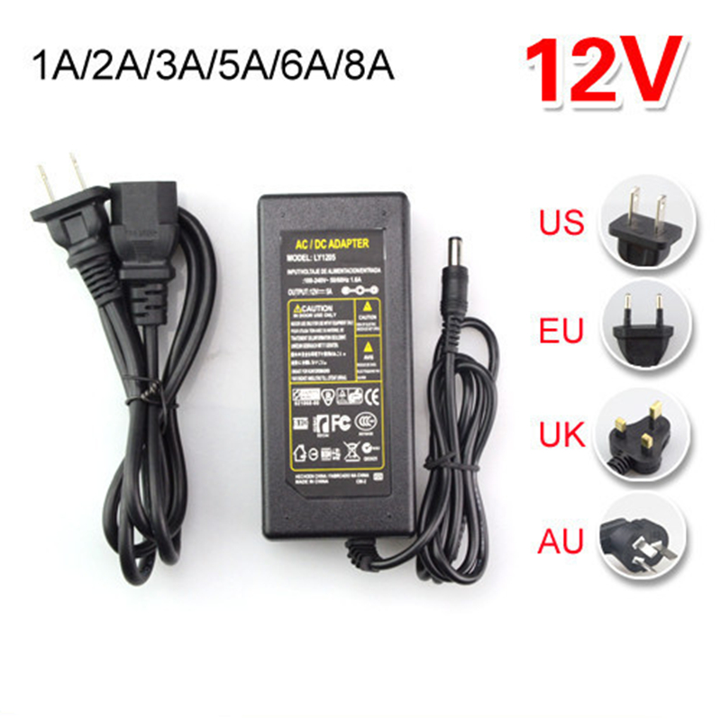 AC 110V 220V To DC 12V 1A 2A 3A 5A 6A 8A Power Adapter Supply Charger Transformer for 5050 5630 3014 3528 2835 LED String Strip(China (Mainland))