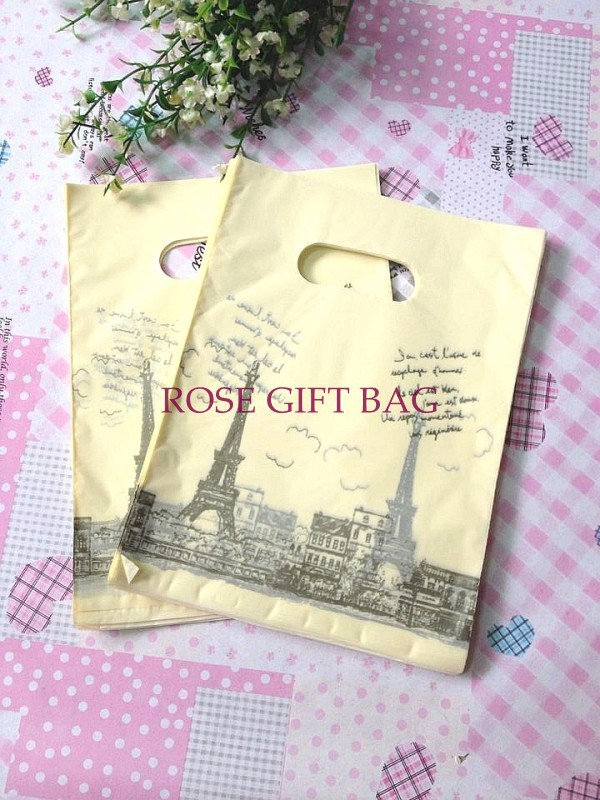 Free Shipping Tower Print Yellow Plastic Bags 500pcs/lot Wholesale Carrier Bags Packing Shopping Bags 15x20cm(China (Mainland))