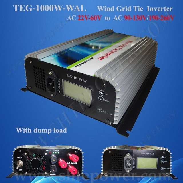 1000W on Grid Tie Wind Power Inverter AC 22V~60V to AC 100v 110v 120v with Dump Load Controller for 3 Phase Wind turbine