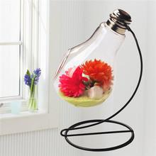 Decoración de boda artesanía que cuelga del bulbo de vidrio cristalino terrario planta recipiente transparente clara luz de bulbo florero puesto de flores(China (Mainland))