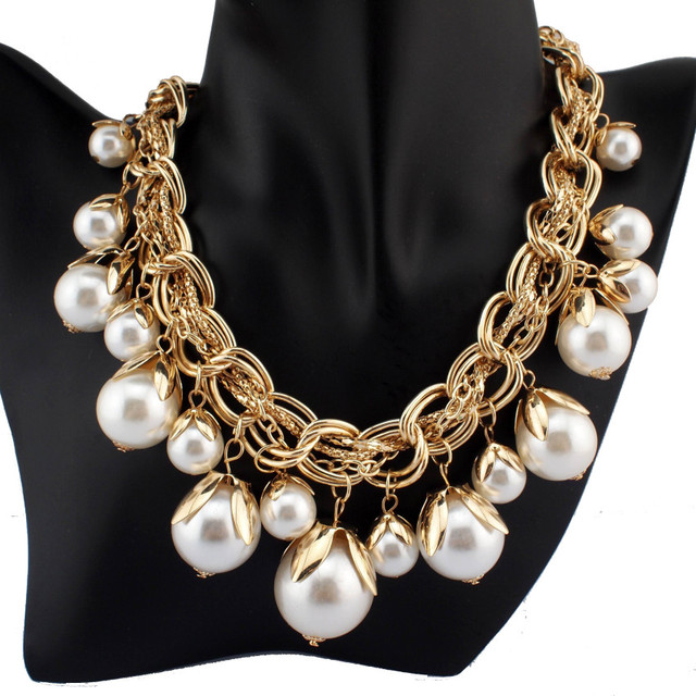 Fashion Chunky Chain White Imitation Pearl Beads Pendant Bib Necklace Choker Jewelry For Women Dress Free Shipping