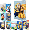 New Arrival Cute Minion Smart case for Ipad air II 2 Cartoon Despicable Me PU leather