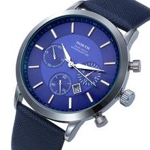 Hombre relojes de marca norte cuero genuino Dial de plata relojes de cuarzo para hombre deporte de la muñeca relojes shiping libre a prueba de agua