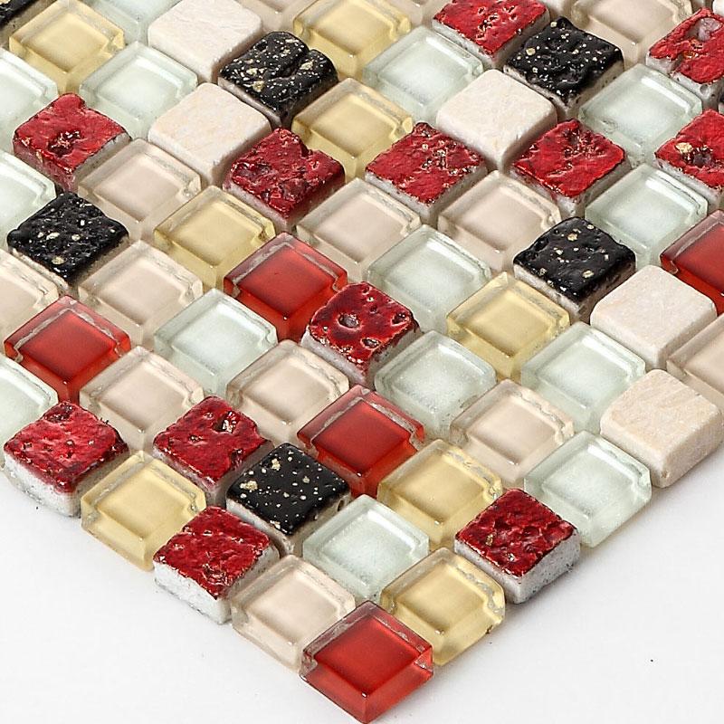 Red glass backsplash tile
