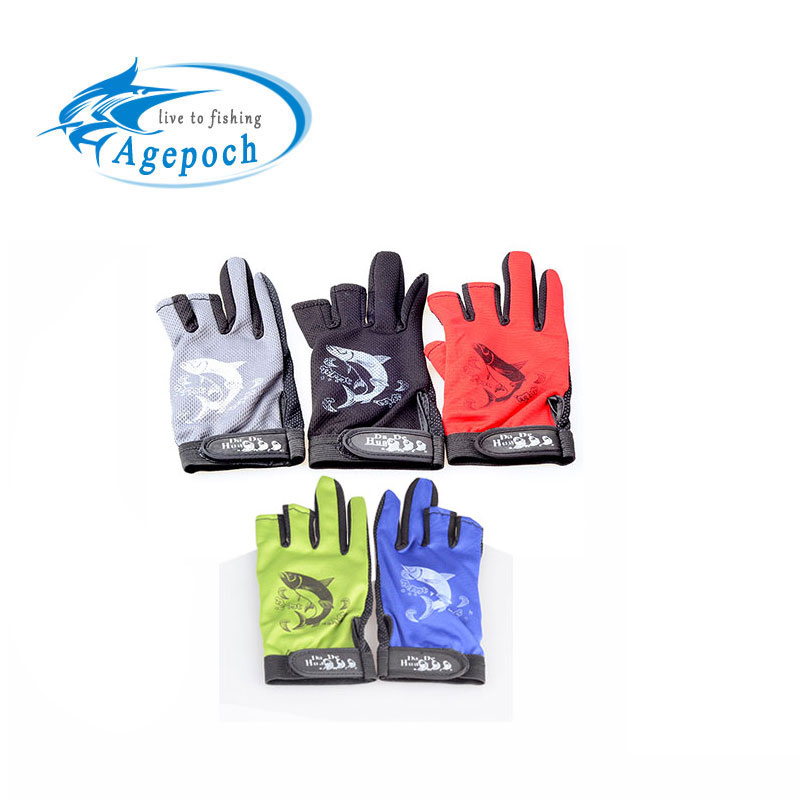 Design Durable Anti-Slip Anti-Cut 3 Cut Finger Anti Slip Camouflage Outdoor Fishing Gloves - Agepoch Tackle Ukraine store