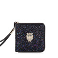 New Korean Style Fashion Zipper Wallet Dazzling Rhinestone And Sequin Ornament Fashion Purse Cute Cartoon Animal