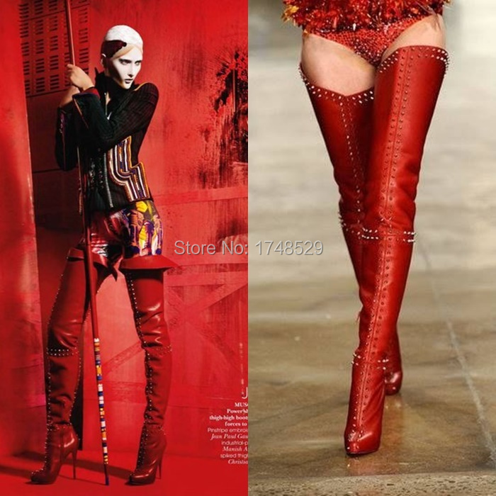 Red Leather Knee Boots